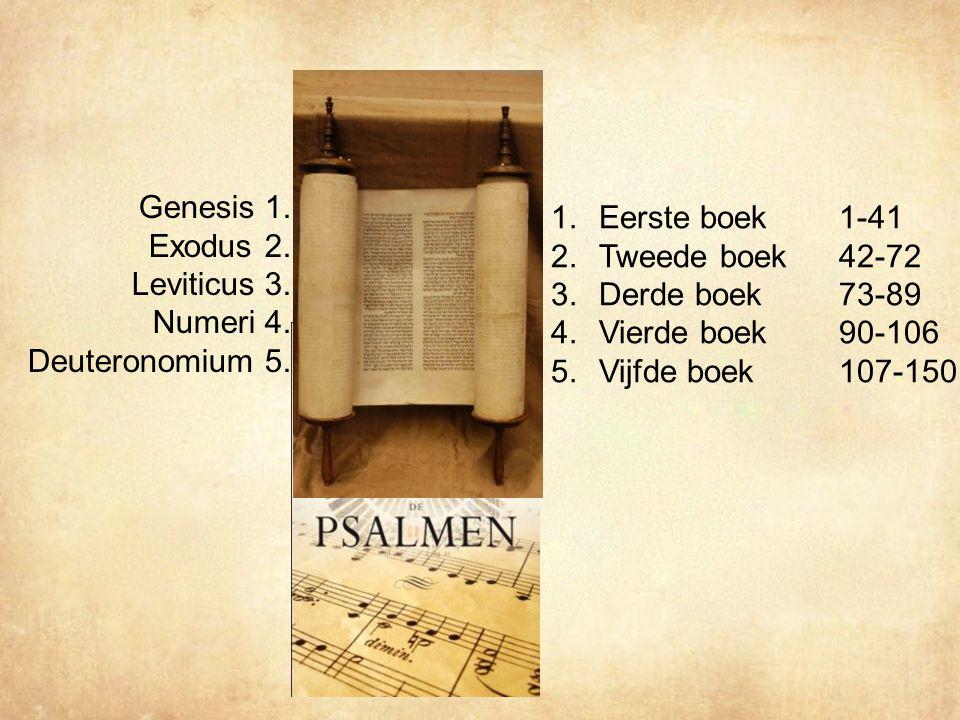 Genesis 1.Exodus 2. Leviticus 3. Numeri 4. Deuteronomium 5.