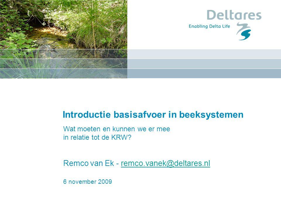 6 november 2009 Introductie basisafvoer in beeksystemen Remco van Ek - remco.vanek@deltares.nlremco.vanek@deltares.nl Wat moeten en kunnen we er mee i