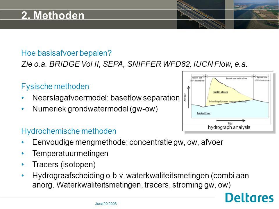June 20 2008 Hoe basisafvoer bepalen? Zie o.a. BRIDGE Vol II, SEPA, SNIFFER WFD82, IUCN Flow, e.a. Fysische methoden Neerslagafvoermodel: baseflow sep