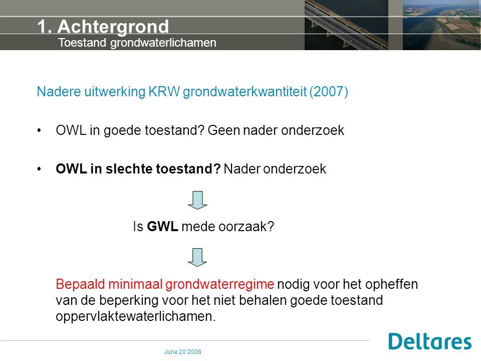 June 20 2008 1. Achtergrond Nadere uitwerking KRW grondwaterkwantiteit (2007) OWL in goede toestand? Geen nader onderzoek OWL in slechte toestand? Nad