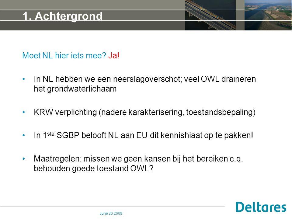 June 20 2008 1. Achtergrond Moet NL hier iets mee? Ja! In NL hebben we een neerslagoverschot; veel OWL draineren het grondwaterlichaam KRW verplichtin