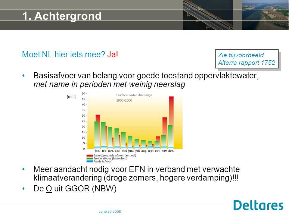 June 20 2008 1. Achtergrond Moet NL hier iets mee? Ja! Basisafvoer van belang voor goede toestand oppervlaktewater, met name in perioden met weinig ne