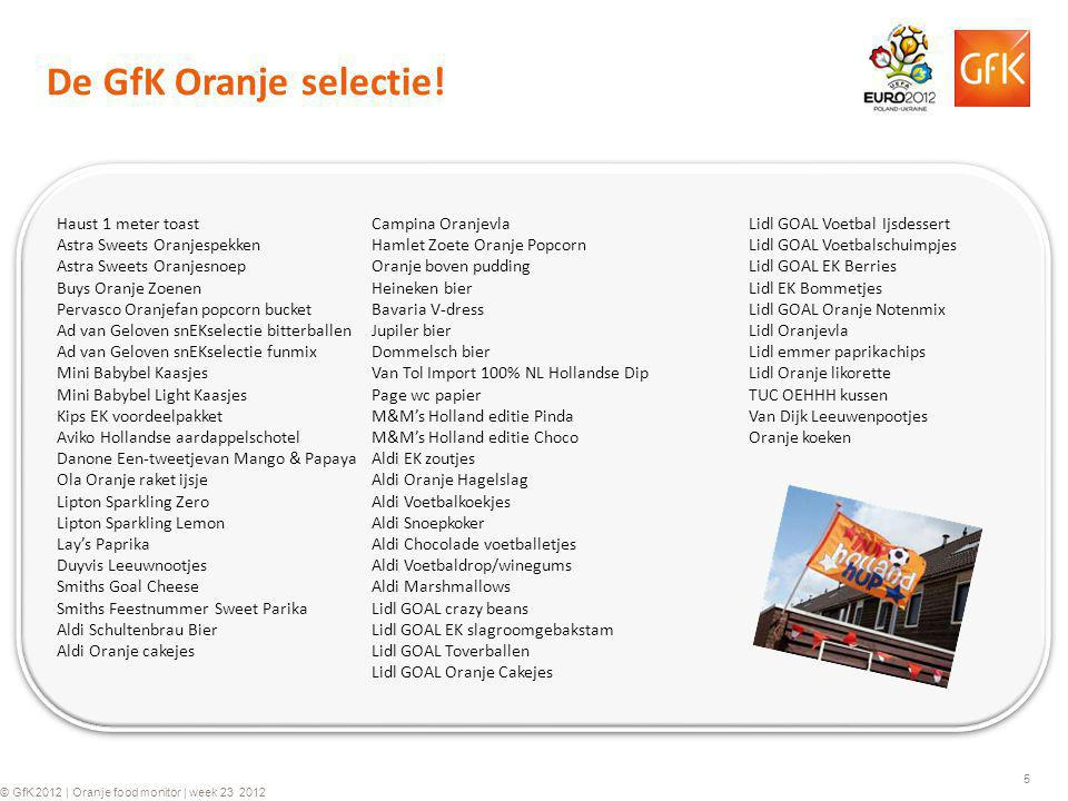 5 © GfK 2012 | Oranje food monitor | week 23 2012 Haust 1 meter toast Astra Sweets Oranjespekken Astra Sweets Oranjesnoep Buys Oranje Zoenen Pervasco