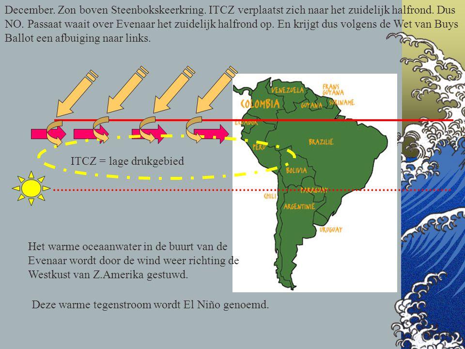 December. Zon boven Steenbokskeerkring. ITCZ verplaatst zich naar het zuidelijk halfrond. Dus NO. Passaat waait over Evenaar het zuidelijk halfrond op