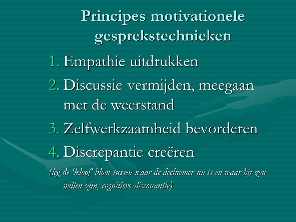 Principes motivationele gesprekstechnieken 1.Empathie uitdrukken 2.Discussie vermijden, meegaan met de weerstand 3.Zelfwerkzaamheid bevorderen 4.Discr
