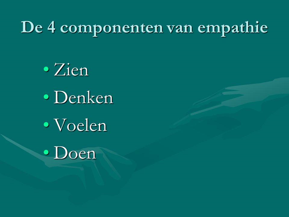 De 4 componenten van empathie ZienZien DenkenDenken VoelenVoelen DoenDoen
