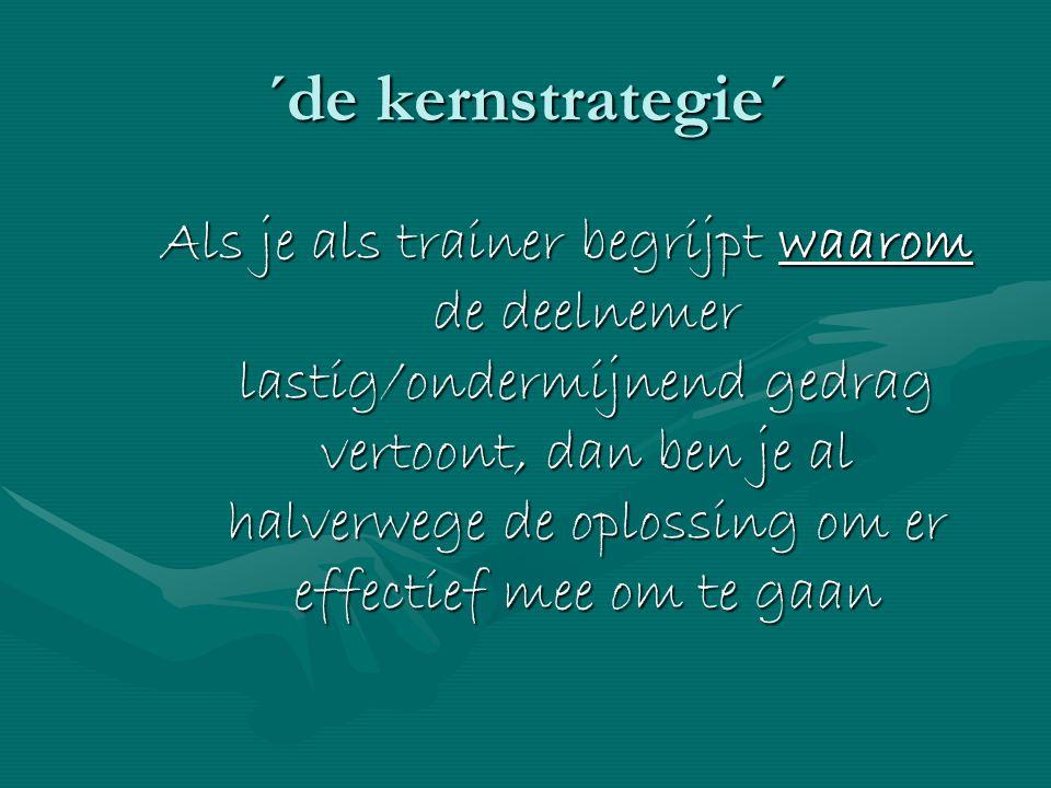 ´de kernstrategie´ Als je als trainer begrijpt waarom de deelnemer lastig/ondermijnend gedrag vertoont, dan ben je al halverwege de oplossing om er ef
