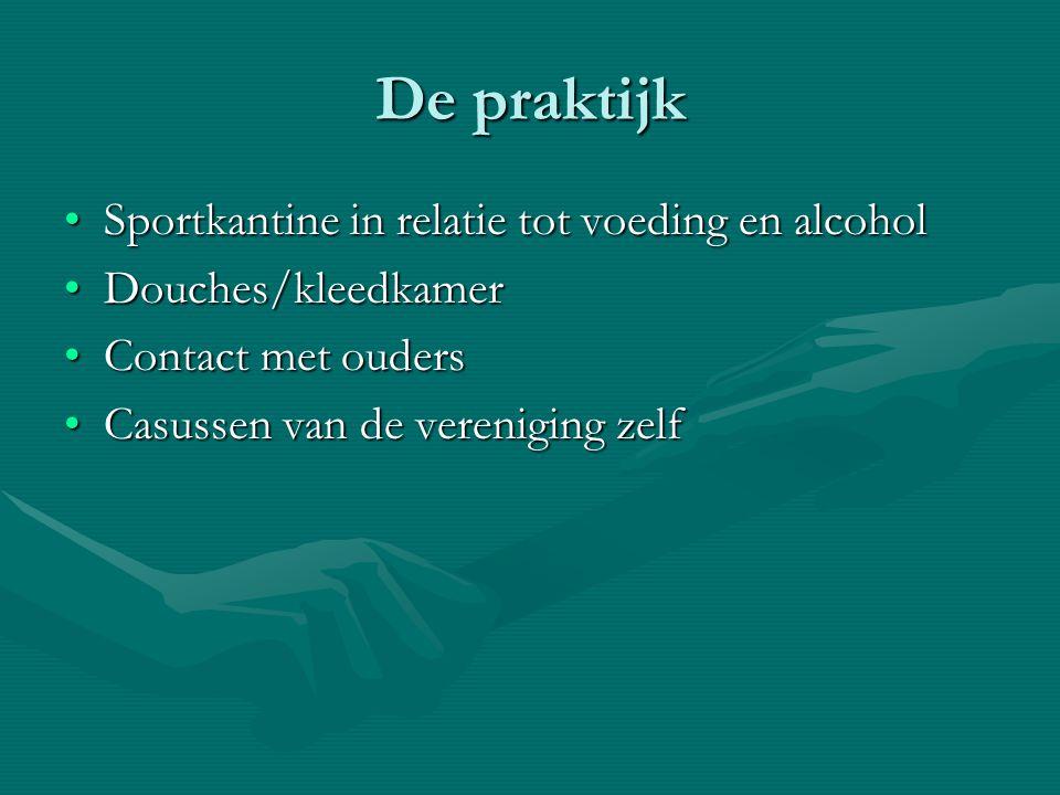 De praktijk Sportkantine in relatie tot voeding en alcoholSportkantine in relatie tot voeding en alcohol Douches/kleedkamerDouches/kleedkamer Contact