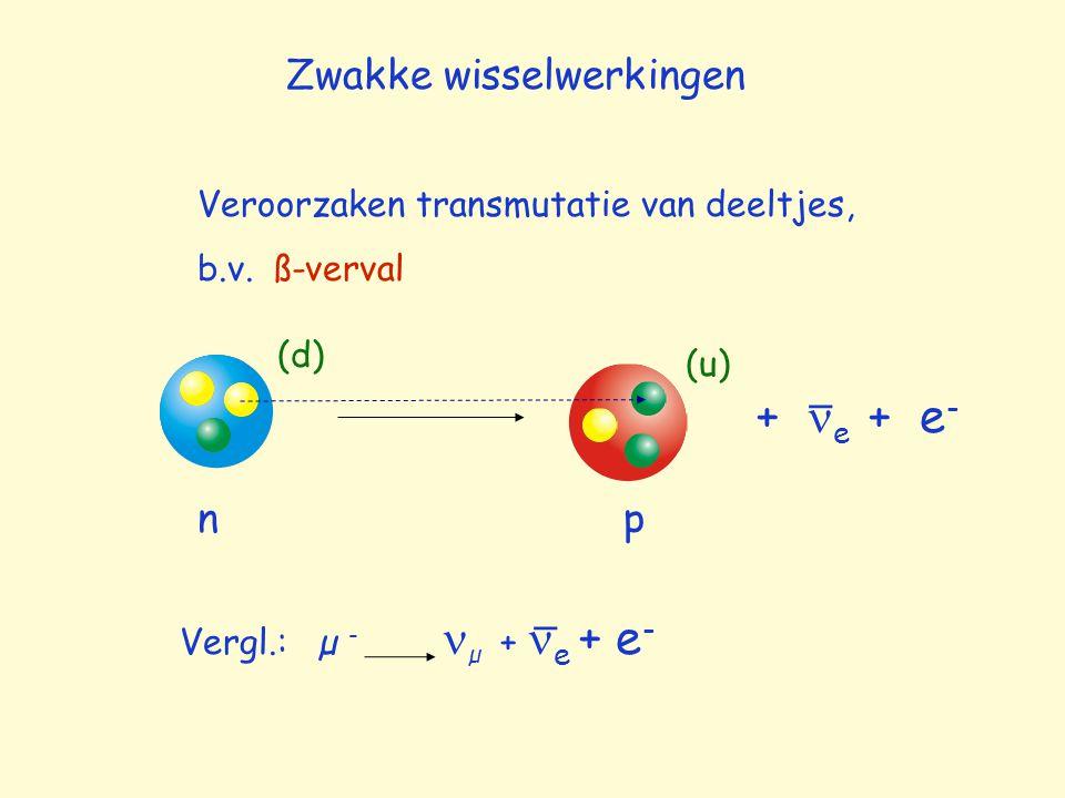 Zwakke wisselwerkingen Veroorzaken transmutatie van deeltjes, b.v. ß-verval np (d) (u) + e + e - _ Vergl.: µ - µ + e + e - _