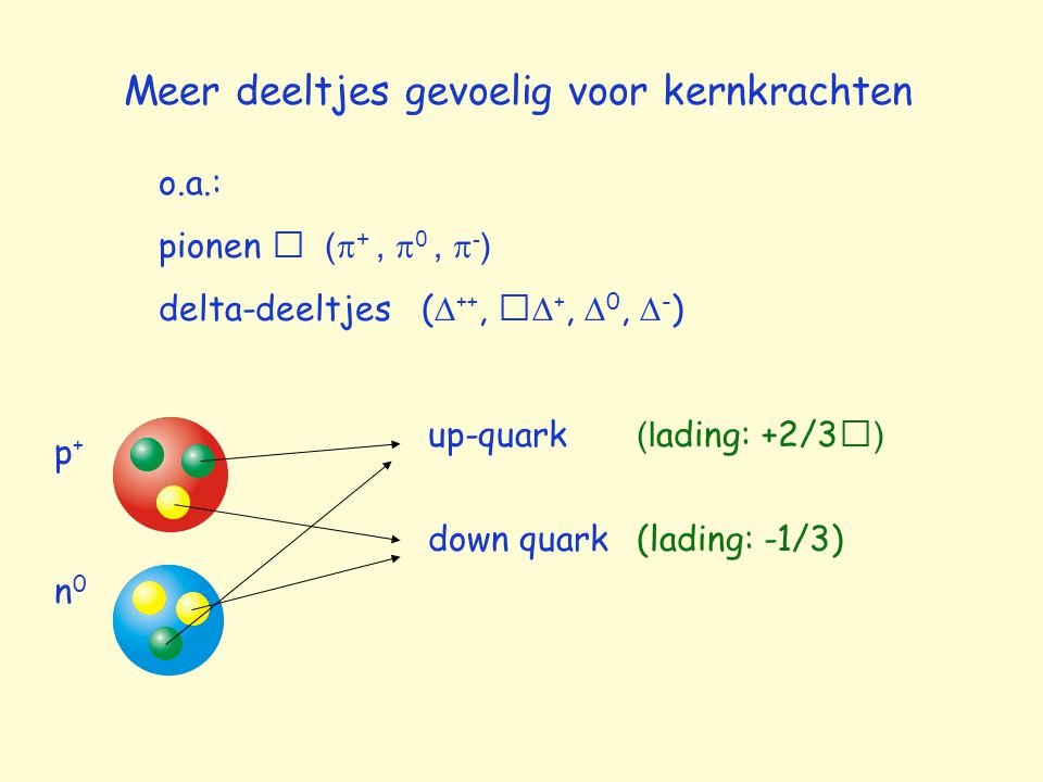 Meer deeltjes gevoelig voor kernkrachten o.a.: pionen (  +,  0,  - ) delta-deeltjes (  ++,  +,  0,  - ) up-quark down quark (l ading: +2/3 ) (lading: -1/3) p+p+ n0n0