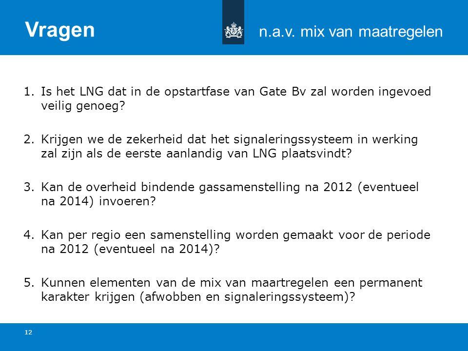 Titel van de presentatie | 20 oktober 2010 Ministerie van Economische Zaken, Landbouw en Innovatie 12 1.Is het LNG dat in de opstartfase van Gate Bv zal worden ingevoed veilig genoeg.
