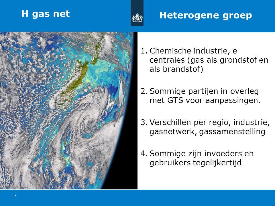 Titel van de presentatie | 20 oktober 2010 Ministerie van Economische Zaken, Landbouw en Innovatie 7 H gas net 1.Chemische industrie, e- centrales (gas als grondstof en als brandstof) 2.Sommige partijen in overleg met GTS voor aanpassingen.