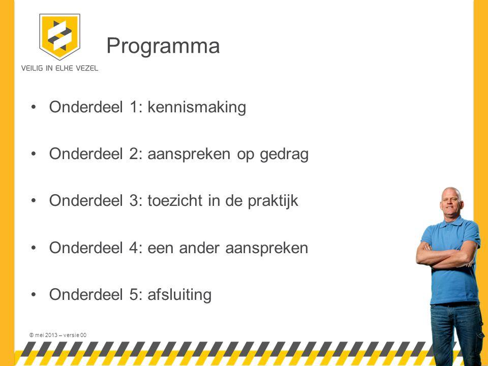 © mei 2013 – versie 00 Programma Onderdeel 1: kennismaking Onderdeel 2: aanspreken op gedrag Onderdeel 3: toezicht in de praktijk Onderdeel 4: een ander aanspreken Onderdeel 5: afsluiting