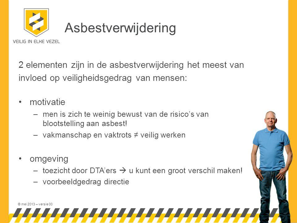 © mei 2013 – versie 00 Asbestverwijdering 2 elementen zijn in de asbestverwijdering het meest van invloed op veiligheidsgedrag van mensen: motivatie –
