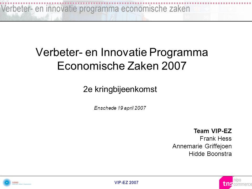 VIP-EZ 2007 Verbeter- en Innovatie Programma Economische Zaken 2007 2e kringbijeenkomst Enschede 19 april 2007 Team VIP-EZ Frank Hess Annemarie Griffe
