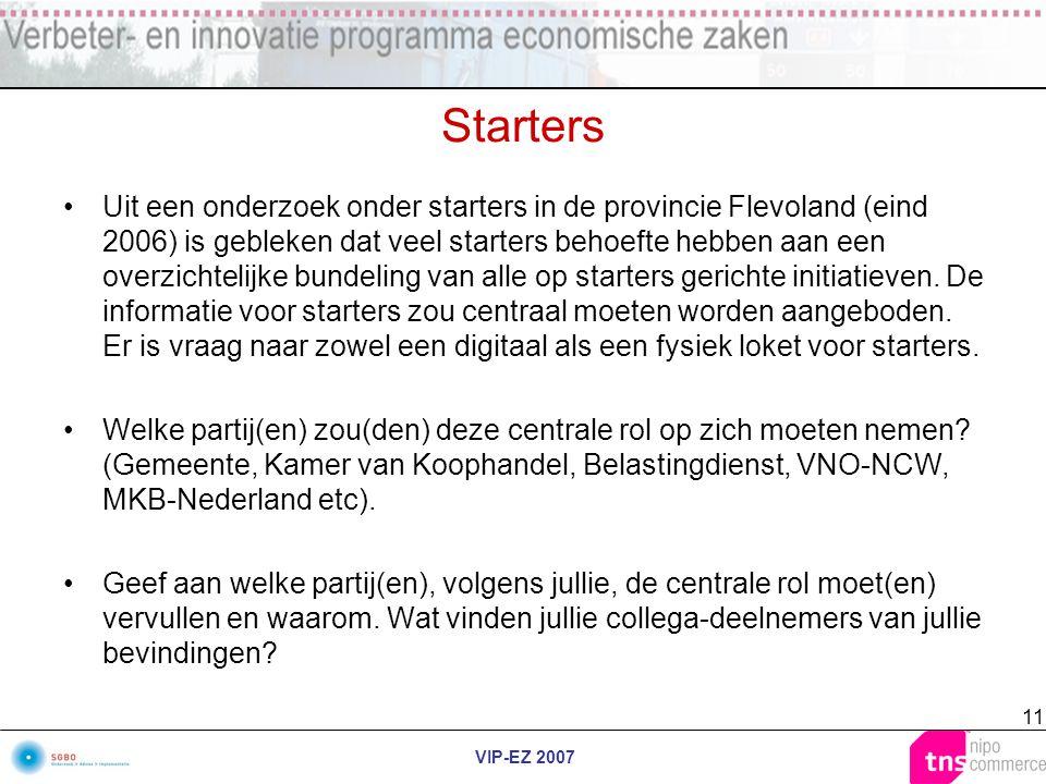 VIP-EZ 2007 11 Starters Uit een onderzoek onder starters in de provincie Flevoland (eind 2006) is gebleken dat veel starters behoefte hebben aan een o
