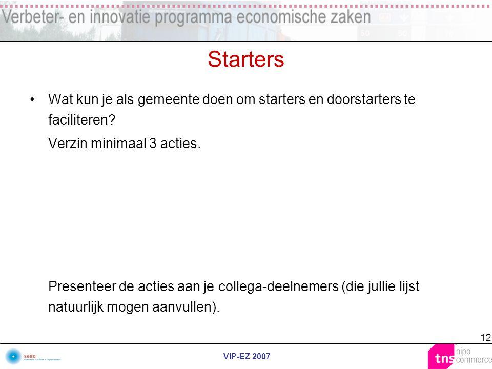 VIP-EZ 2007 12 Starters Wat kun je als gemeente doen om starters en doorstarters te faciliteren? Verzin minimaal 3 acties. Presenteer de acties aan je