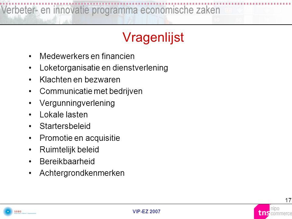 VIP-EZ 2007 17 Vragenlijst Medewerkers en financien Loketorganisatie en dienstverlening Klachten en bezwaren Communicatie met bedrijven Vergunningverl
