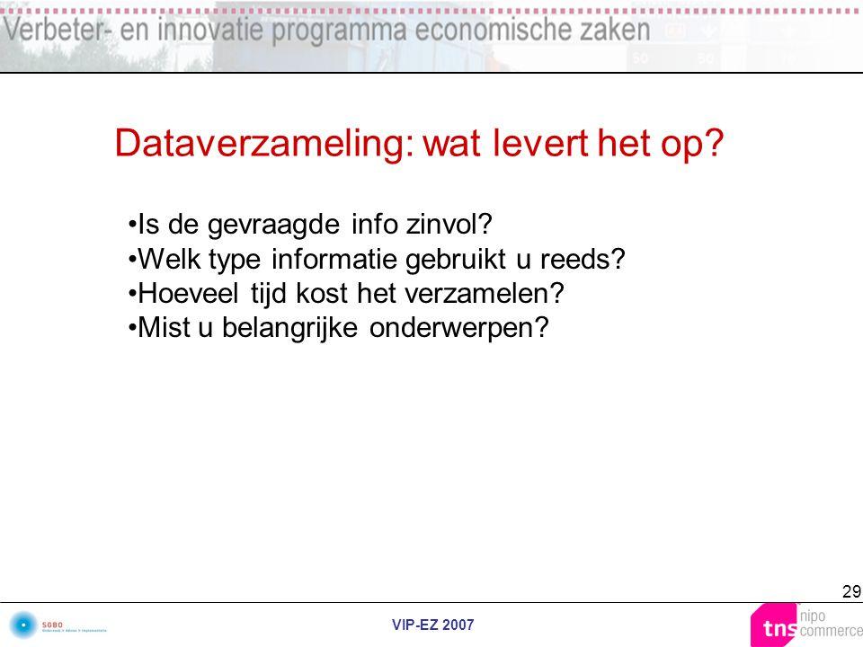 VIP-EZ 2007 29 Dataverzameling: wat levert het op? Is de gevraagde info zinvol? Welk type informatie gebruikt u reeds? Hoeveel tijd kost het verzamele