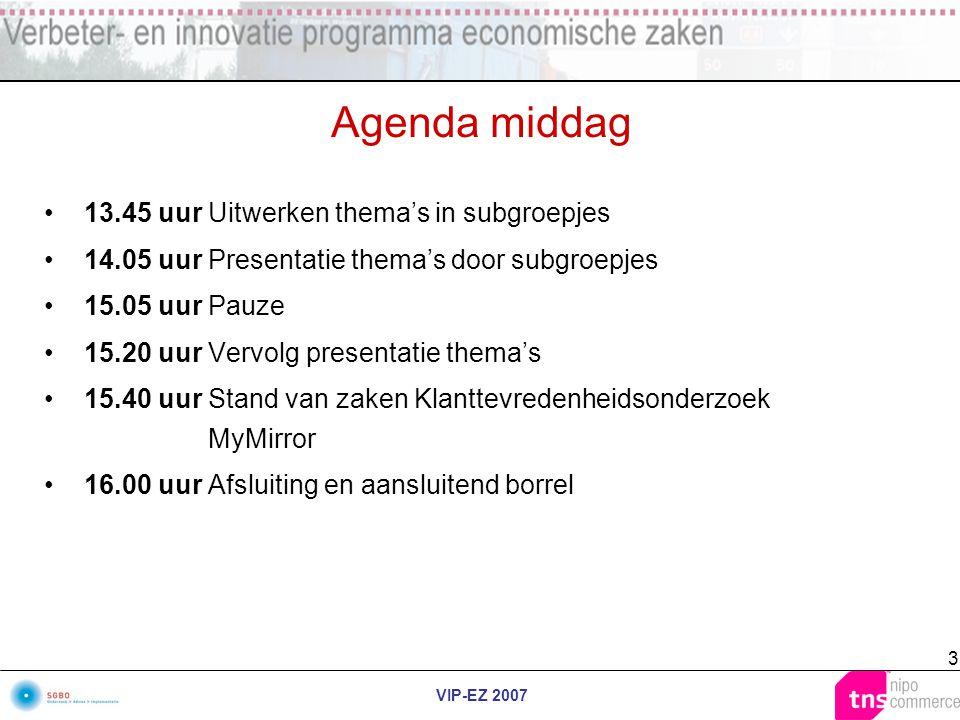 VIP-EZ 2007 3 Agenda middag 13.45 uurUitwerken thema's in subgroepjes 14.05 uurPresentatie thema's door subgroepjes 15.05 uurPauze 15.20 uurVervolg pr