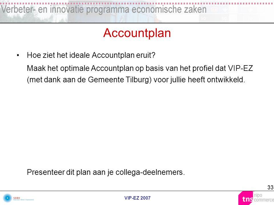 VIP-EZ 2007 33 Accountplan Hoe ziet het ideale Accountplan eruit? Maak het optimale Accountplan op basis van het profiel dat VIP-EZ (met dank aan de G