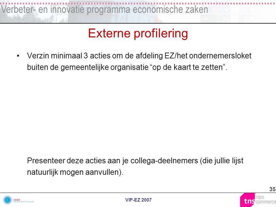 """VIP-EZ 2007 35 Externe profilering Verzin minimaal 3 acties om de afdeling EZ/het ondernemersloket buiten de gemeentelijke organisatie """"op de kaart te"""