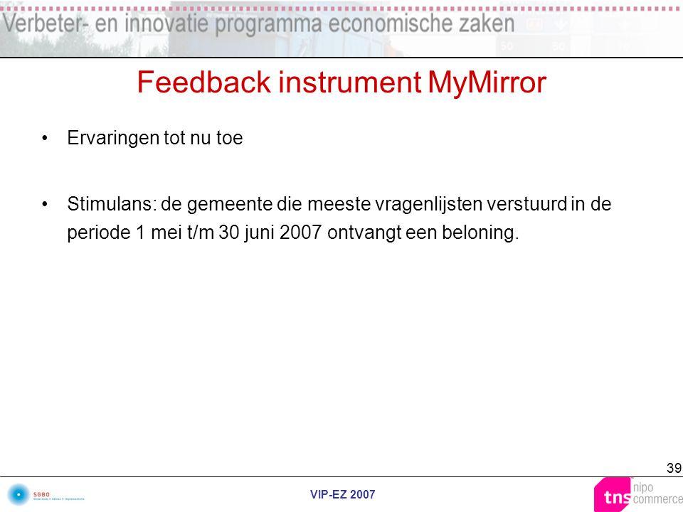 VIP-EZ 2007 39 Feedback instrument MyMirror Ervaringen tot nu toe Stimulans: de gemeente die meeste vragenlijsten verstuurd in de periode 1 mei t/m 30