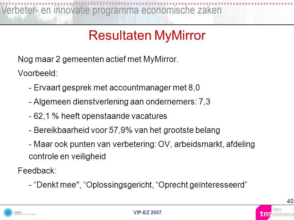 VIP-EZ 2007 40 Resultaten MyMirror Nog maar 2 gemeenten actief met MyMirror. Voorbeeld: - Ervaart gesprek met accountmanager met 8,0 - Algemeen dienst