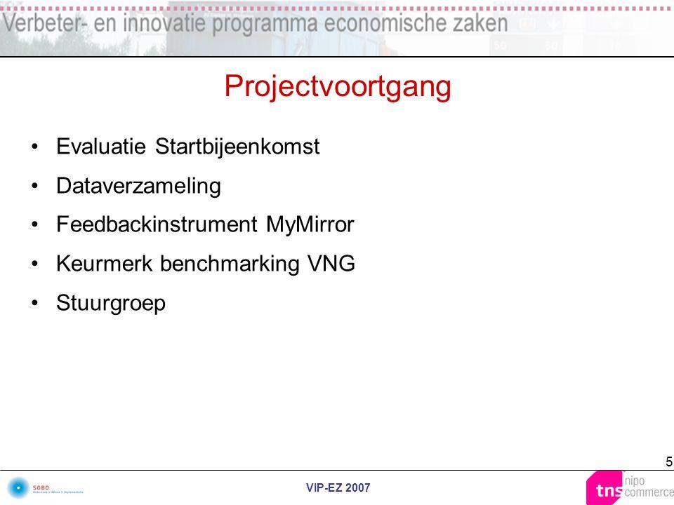 VIP-EZ 2007 5 Projectvoortgang Evaluatie Startbijeenkomst Dataverzameling Feedbackinstrument MyMirror Keurmerk benchmarking VNG Stuurgroep