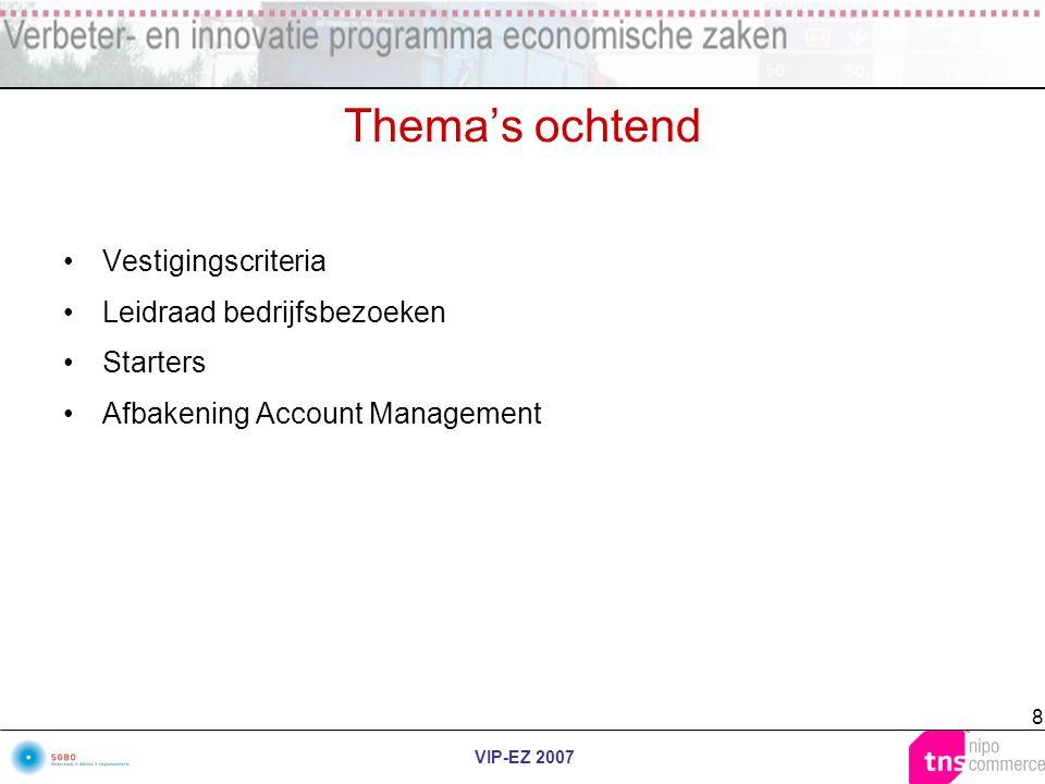VIP-EZ 2007 8 Thema's ochtend Vestigingscriteria Leidraad bedrijfsbezoeken Starters Afbakening Account Management