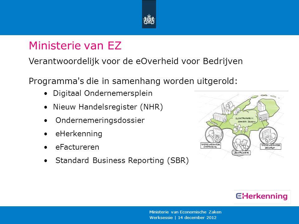Werksessie | 14 december 2012 Ministerie van Economische Zaken Ministerie van EZ Verantwoordelijk voor de eOverheid voor Bedrijven Programma's die in