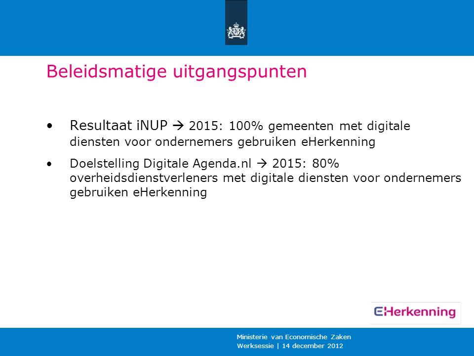 Werksessie | 14 december 2012 Ministerie van Economische Zaken Beleidsmatige uitgangspunten Resultaat iNUP  2015: 100% gemeenten met digitale dienste