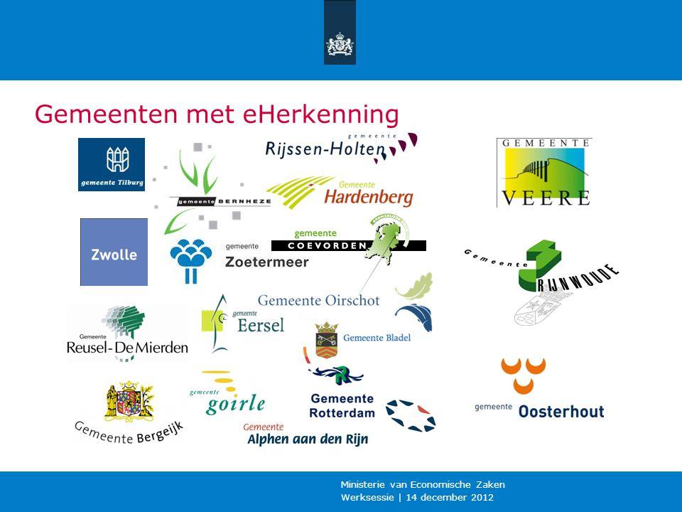 Werksessie | 14 december 2012 Ministerie van Economische Zaken Gemeenten met eHerkenning