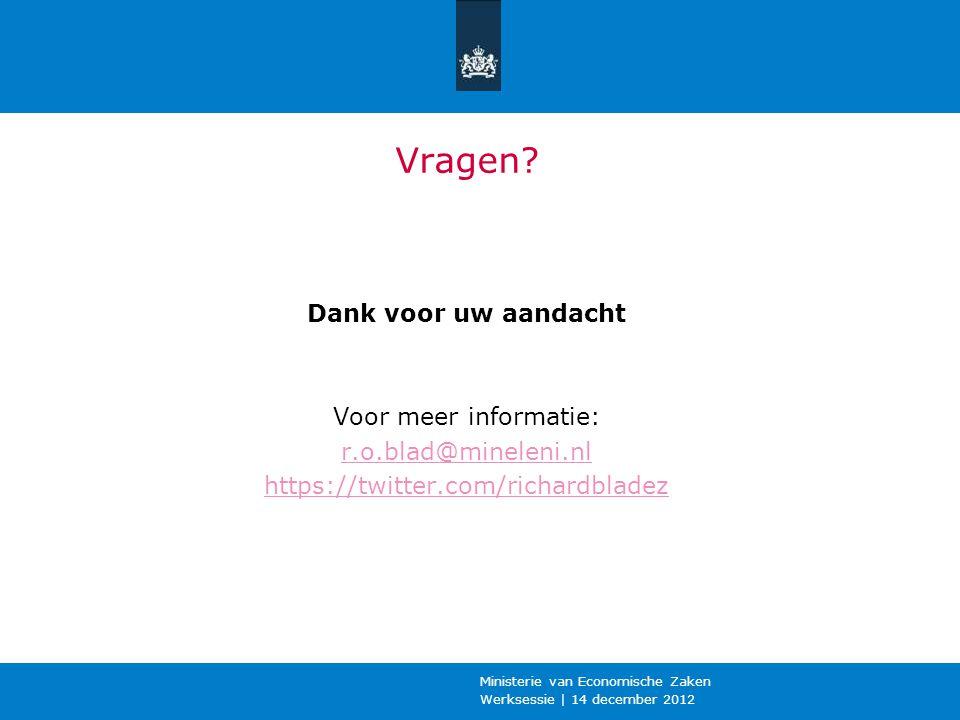 Werksessie | 14 december 2012 Ministerie van Economische Zaken Vragen? Dank voor uw aandacht Voor meer informatie: r.o.blad@mineleni.nl https://twitte