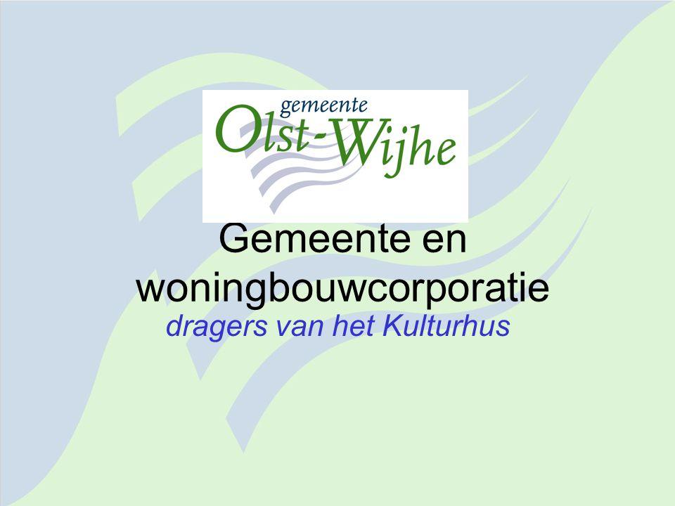 Gemeente en woningbouwcorporatie dragers van het Kulturhus