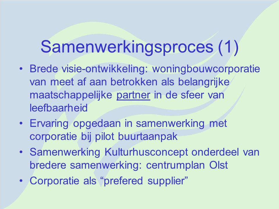 Samenwerkingsproces (1) Brede visie-ontwikkeling: woningbouwcorporatie van meet af aan betrokken als belangrijke maatschappelijke partner in de sfeer