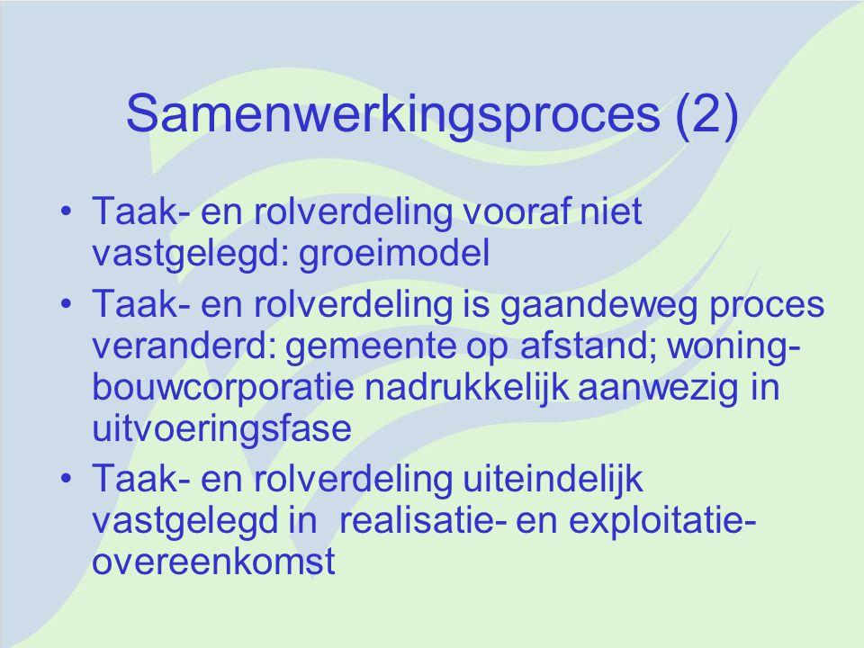 Samenwerkingsproces (2) Taak- en rolverdeling vooraf niet vastgelegd: groeimodel Taak- en rolverdeling is gaandeweg proces veranderd: gemeente op afst