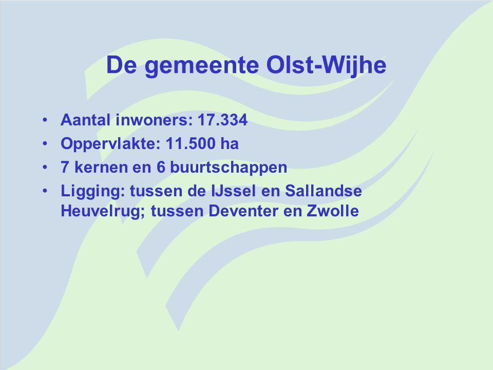 De gemeente Olst-Wijhe Aantal inwoners: 17.334 Oppervlakte: 11.500 ha 7 kernen en 6 buurtschappen Ligging: tussen de IJssel en Sallandse Heuvelrug; tu