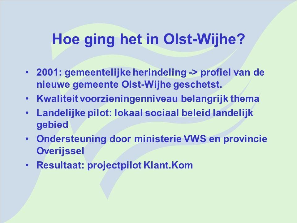 Hoe ging het in Olst-Wijhe? 2001: gemeentelijke herindeling -> profiel van de nieuwe gemeente Olst-Wijhe geschetst. Kwaliteit voorzieningenniveau bela