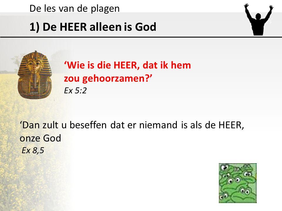 De les van de plagen 1) De HEER alleen is God 'Wie is die HEER, dat ik hem zou gehoorzamen?' Ex 5:2 'Dan zult u beseffen dat er niemand is als de HEER