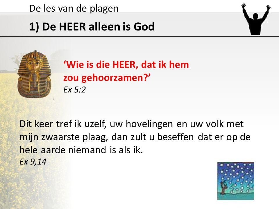 De les van de plagen 1) De HEER alleen is God 'Wie is die HEER, dat ik hem zou gehoorzamen?' Ex 5:2 Dit keer tref ik uzelf, uw hovelingen en uw volk m
