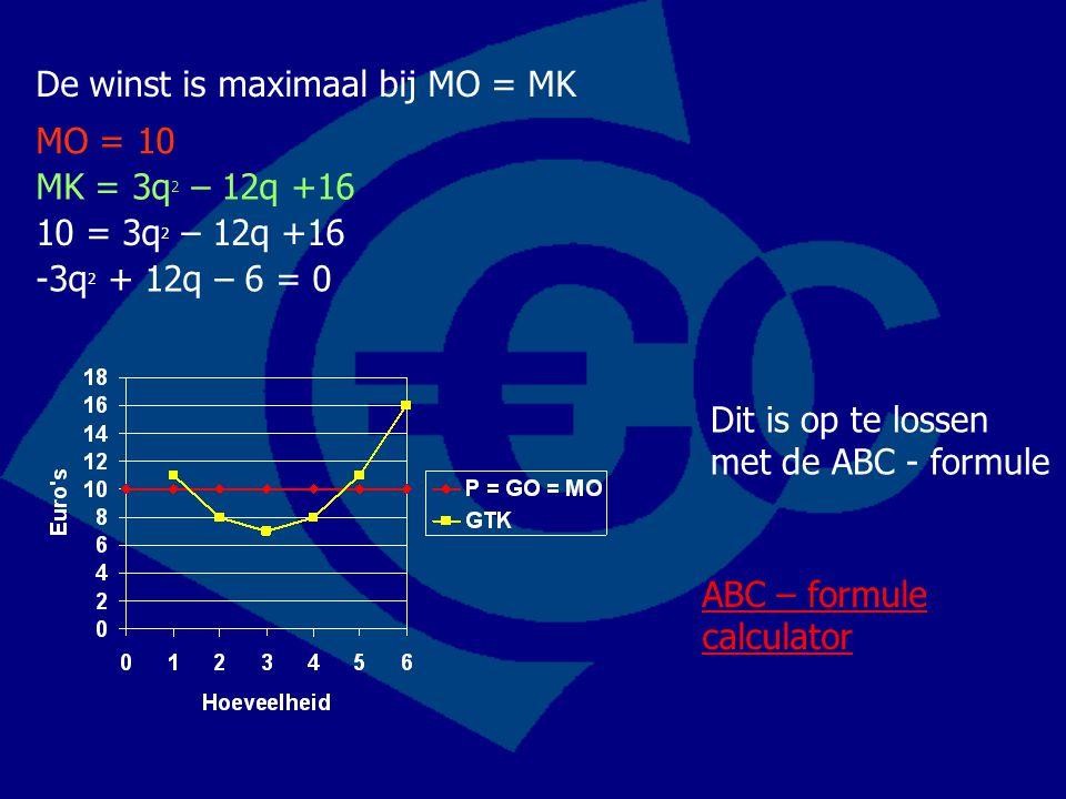 De winst is maximaal bij MO = MK MO = 10 MK = 3q 2 – 12q +16 10 = 3q 2 – 12q +16 -3q 2 + 12q – 6 = 0 Dit is op te lossen met de ABC - formule ABC – fo
