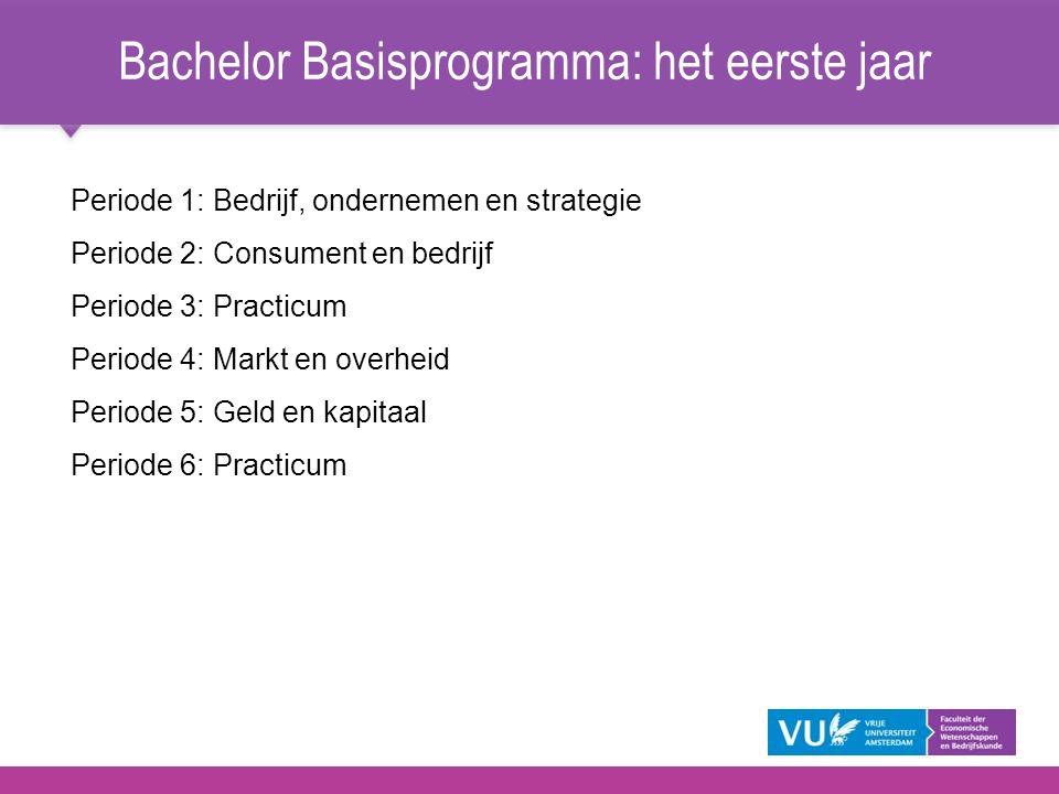 Bachelor Basisprogramma: het eerste jaar Periode 1: Bedrijf, ondernemen en strategie Periode 2: Consument en bedrijf Periode 3: Practicum Periode 4: M