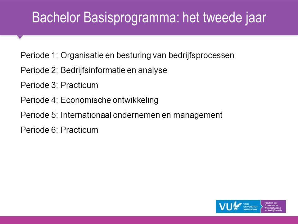 Bachelor Basisprogramma: het tweede jaar Periode 1: Organisatie en besturing van bedrijfsprocessen Periode 2: Bedrijfsinformatie en analyse Periode 3: