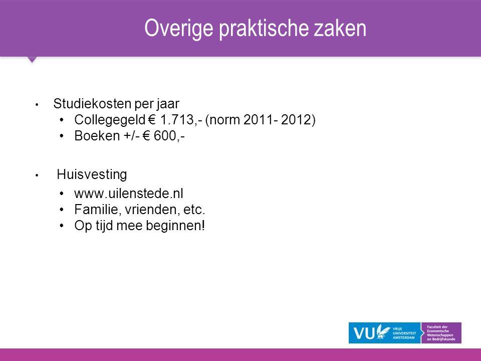 Overige praktische zaken Studiekosten per jaar Collegegeld € 1.713,- (norm 2011- 2012) Boeken +/- € 600,- Huisvesting www.uilenstede.nl Familie, vrien