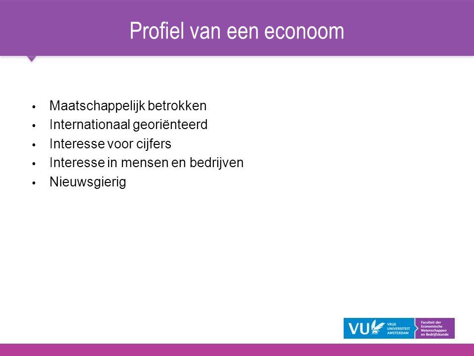 Profiel van een econoom   Maatschappelijk betrokken   Internationaal georiënteerd   Interesse voor cijfers   Interesse in mensen en bedrijven