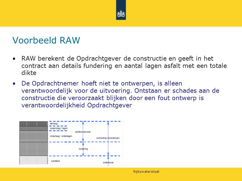 Rijkswaterstaat Voorbeeld RAW RAW berekent de Opdrachtgever de constructie en geeft in het contract aan details fundering en aantal lagen asfalt met e