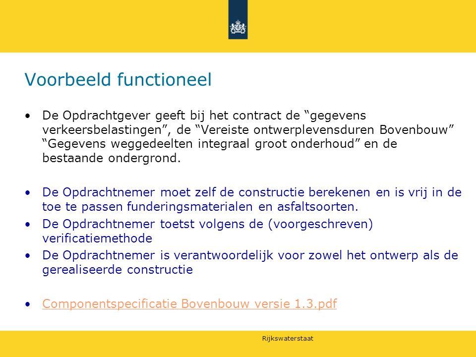 """Rijkswaterstaat Voorbeeld functioneel De Opdrachtgever geeft bij het contract de """"gegevens verkeersbelastingen"""", de """"Vereiste ontwerplevensduren Boven"""