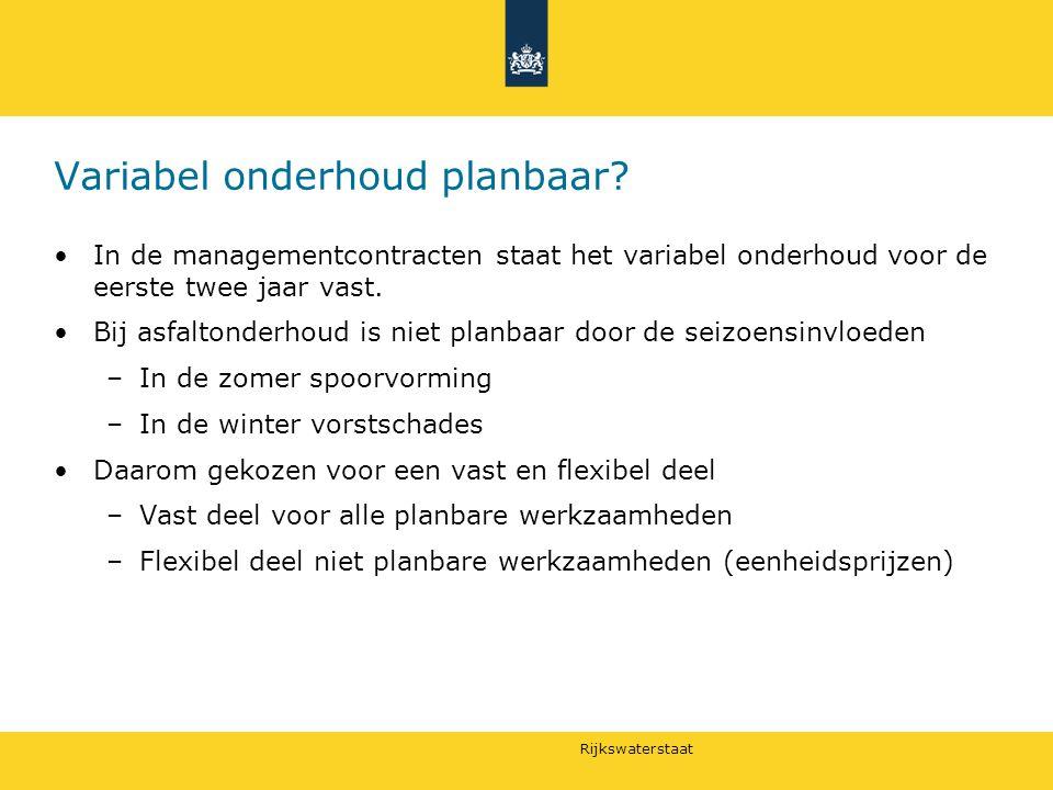 Variabel onderhoud planbaar? In de managementcontracten staat het variabel onderhoud voor de eerste twee jaar vast. Bij asfaltonderhoud is niet planba