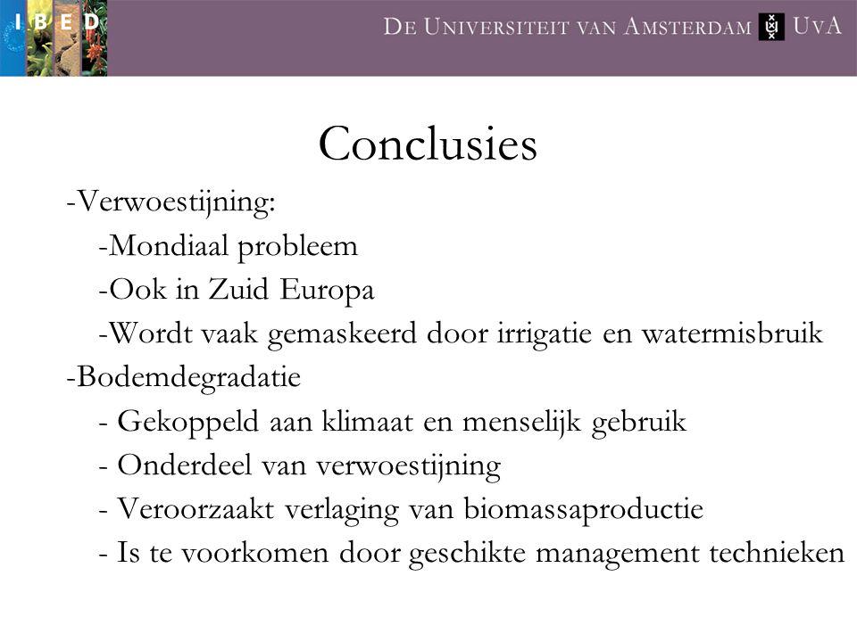 Conclusies -Verwoestijning: -Mondiaal probleem -Ook in Zuid Europa -Wordt vaak gemaskeerd door irrigatie en watermisbruik -Bodemdegradatie - Gekoppeld